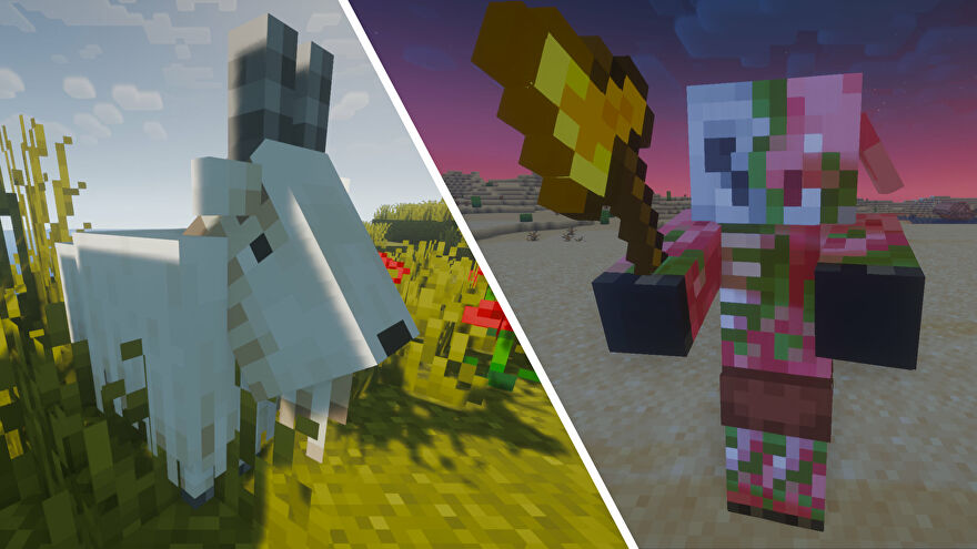 A composite image of two Minecraft mobs: on the left is a goat in a grassland biome during the day, and on the right is a Piglin Brute in a desert biome at night.
