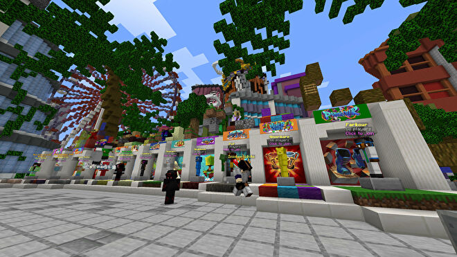 A Minecraft screenshot of the lobby of the Cubecraft server.
