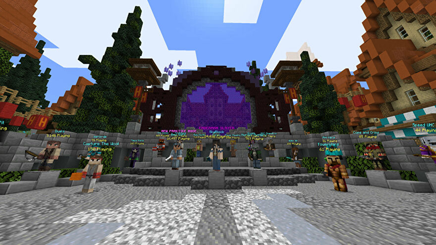 A Minecraft screenshot of the lobby of the Hypixel server.