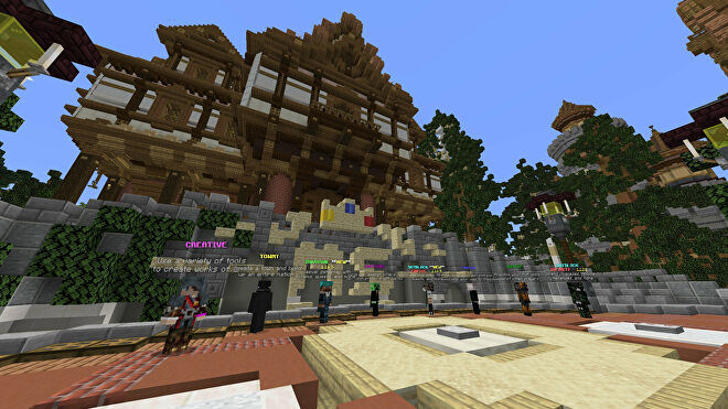 A Minecraft screenshot of the lobby of the MineSuperior server.