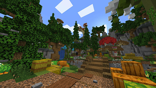 A Minecraft screenshot of the lobby of the Seed server.