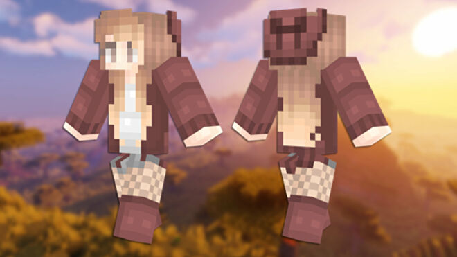 A front and back view of the Autumn Minecraft skin.