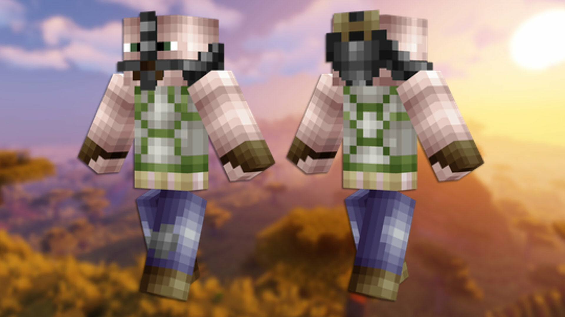 A front and back view of the Chuck Norris Minecraft skin.