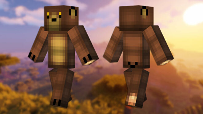 A front and back view of the Bear Minecraft skin.