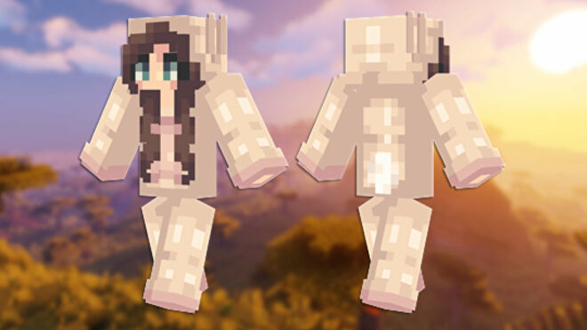A front and back view of the Bunny Girl Minecraft skin.
