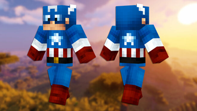 A front and back view of the Captain America Minecraft skin.