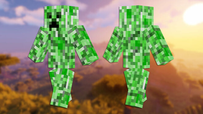 A front and back view of the Creeper Minecraft skin.