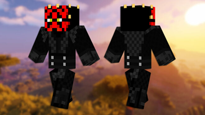 A front and back view of the Darth Maul Minecraft skin.