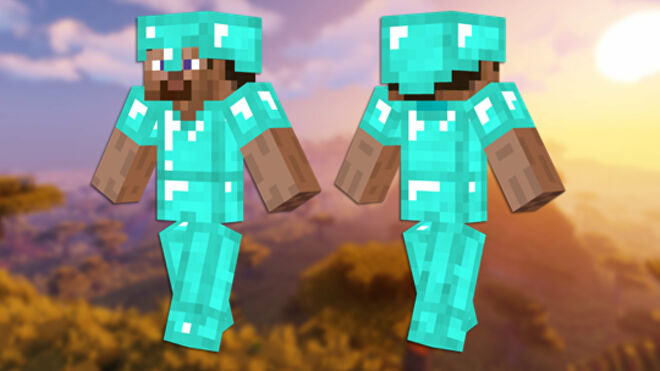 A front and back view of the Diamond Armor Minecraft skin.