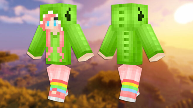 A front and back view of the Dino Girl Minecraft skin.