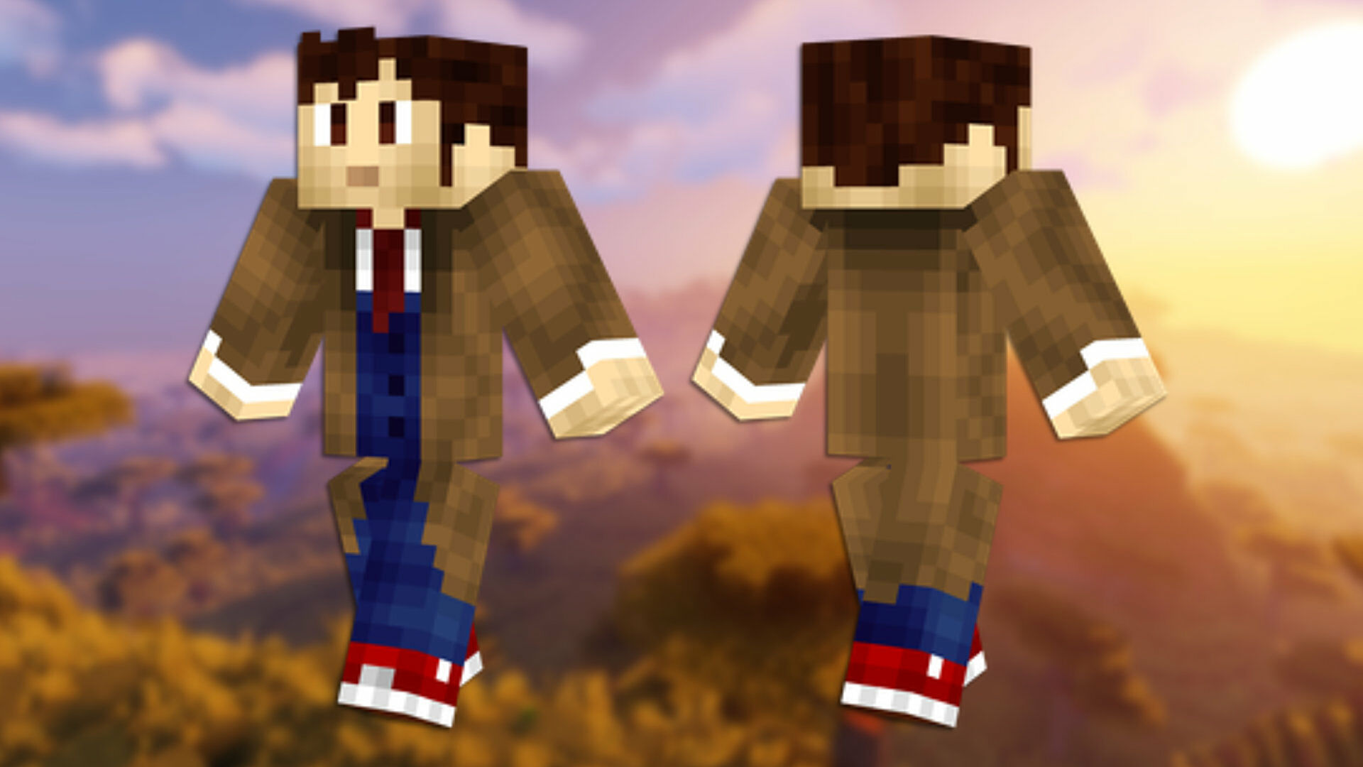 A front and back view of the Lion Minecraft skin.