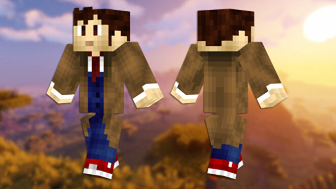 A front and back view of the Doctor Who Minecraft skin.
