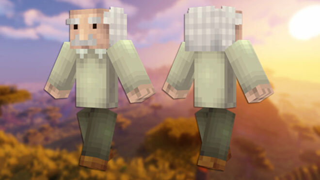 A front and back view of the Einstein Minecraft skin.