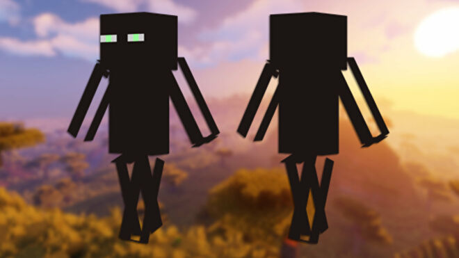 A front and back view of the Enderman Minecraft skin.