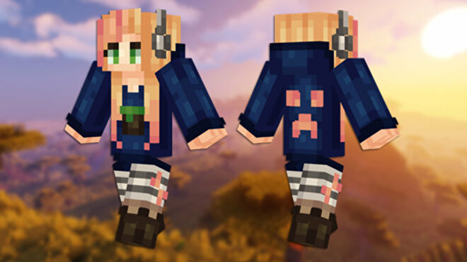 A front and back view of the Gamer Girl Minecraft skin.