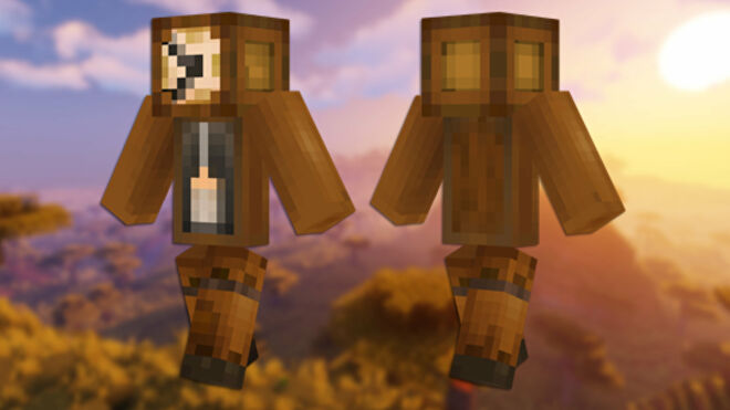 A front and back view of the Grandfather Clock Minecraft skin.