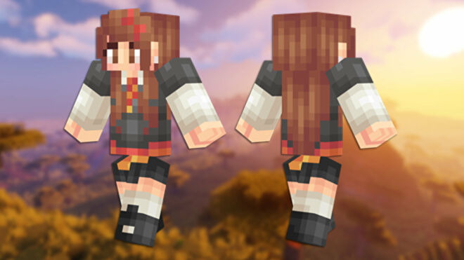 A front and back view of the Hermione Minecraft skin.