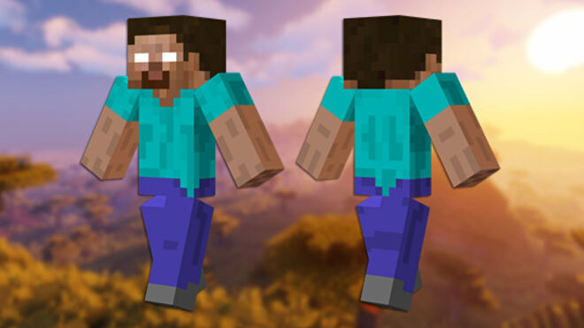 A front and back view of the Herobrine Minecraft skin.