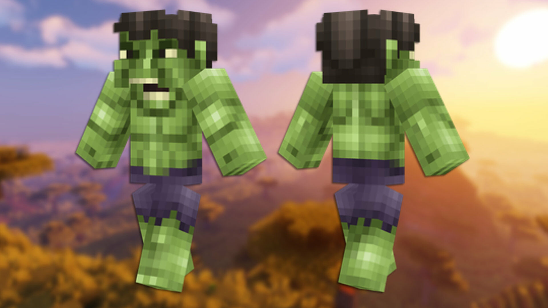 A front and back view of the Among Us Minecraft skin.