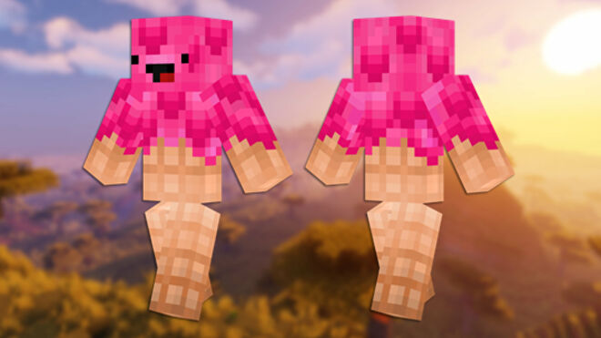A front and back view of the Ice Cream Minecraft skin.