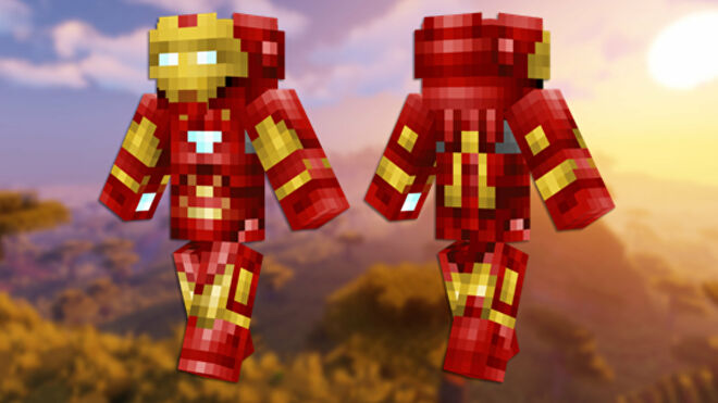 A front and back view of the Iron Man Minecraft skin.