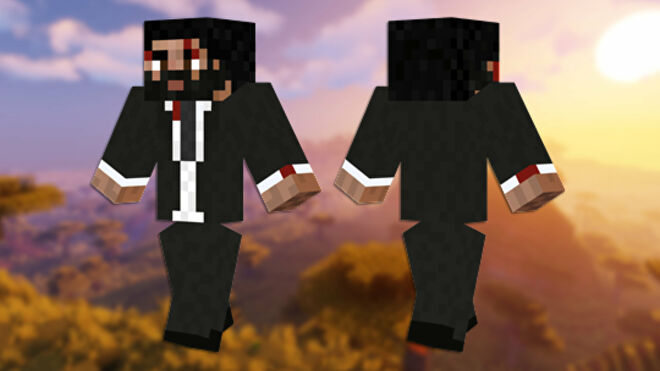 A front and back view of the John Wick Minecraft skin.