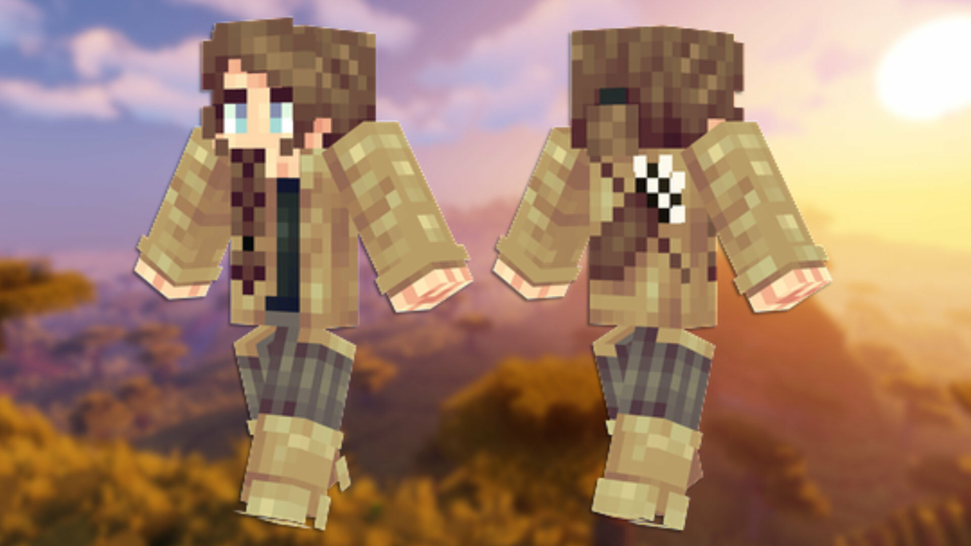 A front and back view of the Panda Minecraft skin.