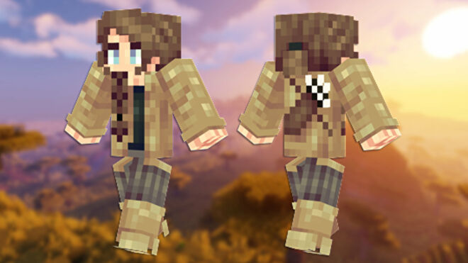 A front and back view of the Katniss Everdeen Minecraft skin.