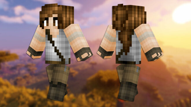 A front and back view of the Lara Croft Minecraft skin.