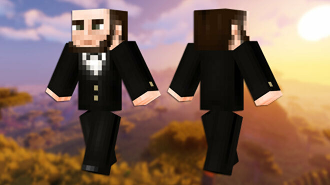 A front and back view of the Abraham Lincoln Minecraft skin.