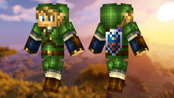 A front and back view of the Link Minecraft skin.