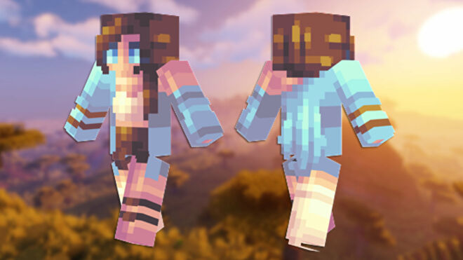 A front and back view of the Marina Minecraft skin.