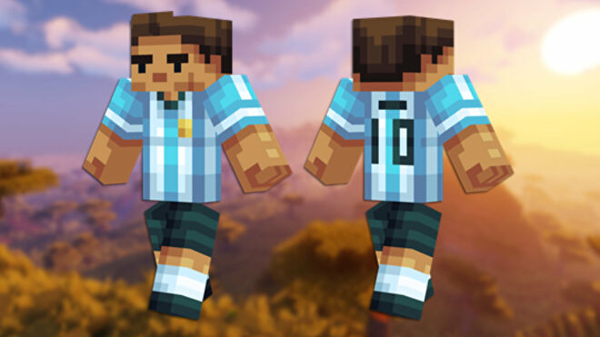 A front and back view of the Messi Minecraft skin.