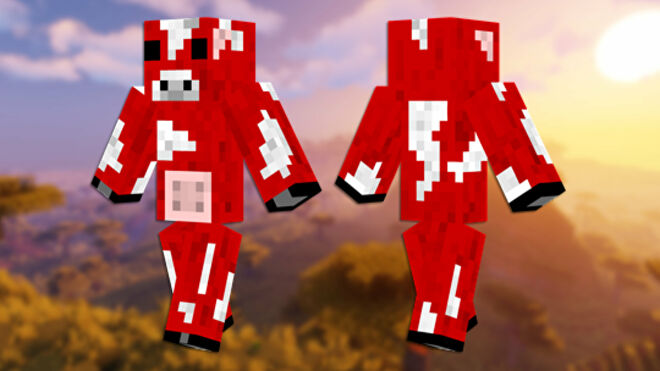 A front and back view of the Mooshroom Minecraft skin.