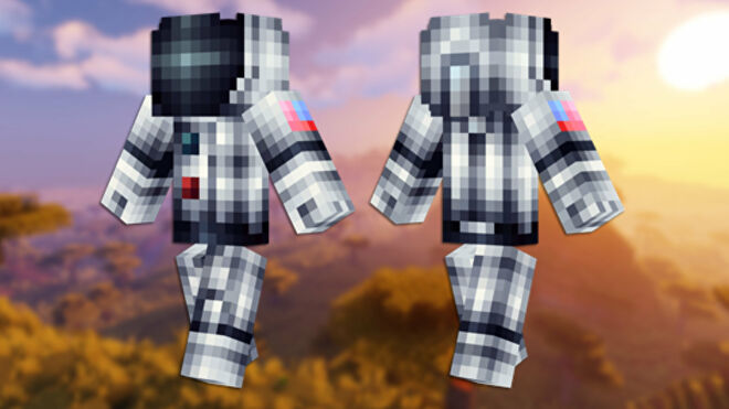 A front and back view of the Neil Armstrong Minecraft skin.