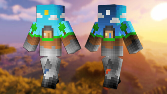 A front and back view of the Overworld Minecraft skin.