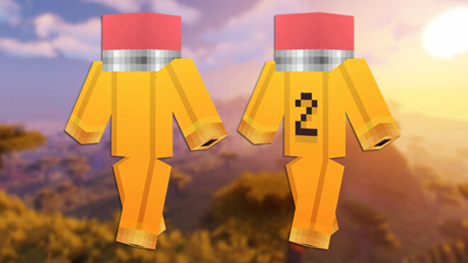 A front and back view of the Pencil Minecraft skin.