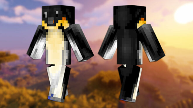 A front and back view of the Penguin Minecraft skin.