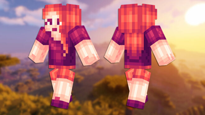 A front and back view of the Plum Girl Minecraft skin.