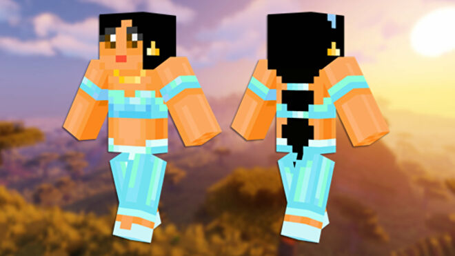 A front and back view of the Princess Jasmine Minecraft skin.