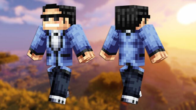 A front and back view of the Psy Minecraft skin.