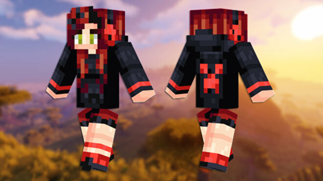 A front and back view of the Red Creeper Girl Minecraft skin.