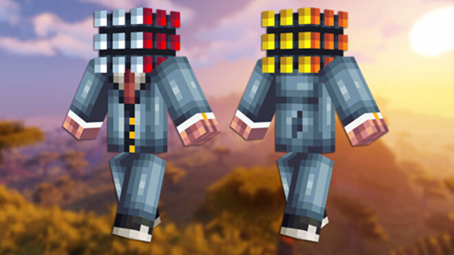 A front and back view of the Rubik's Cube Minecraft skin.