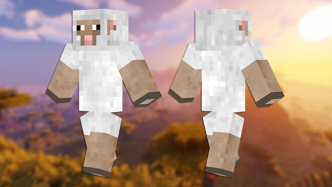 A front and back view of the Sheep Minecraft skin.