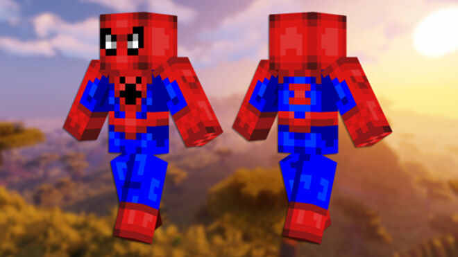 A front and back view of the Spiderman Minecraft skin.