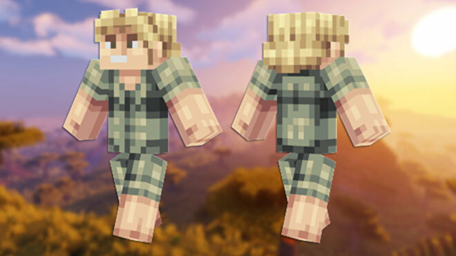 A front and back view of the Steve Irwin Minecraft skin.