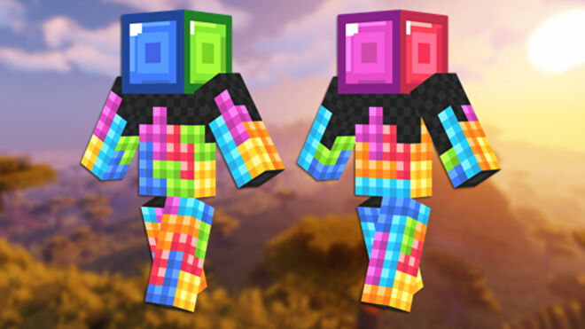 A front and back view of the Tetris Minecraft skin.