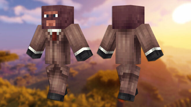 A front and back view of the TF2 Spy Minecraft skin.