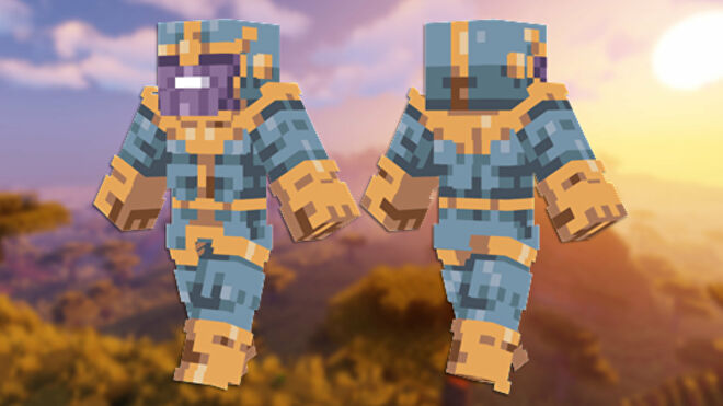 A front and back view of the Thanos Minecraft skin.