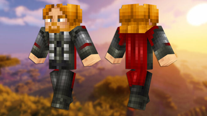 A front and back view of the Thor Minecraft skin.